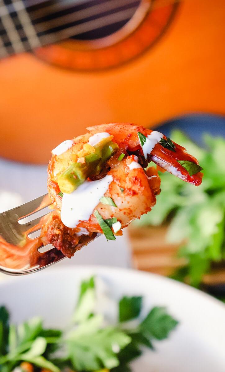 Shrimp bite on a fork