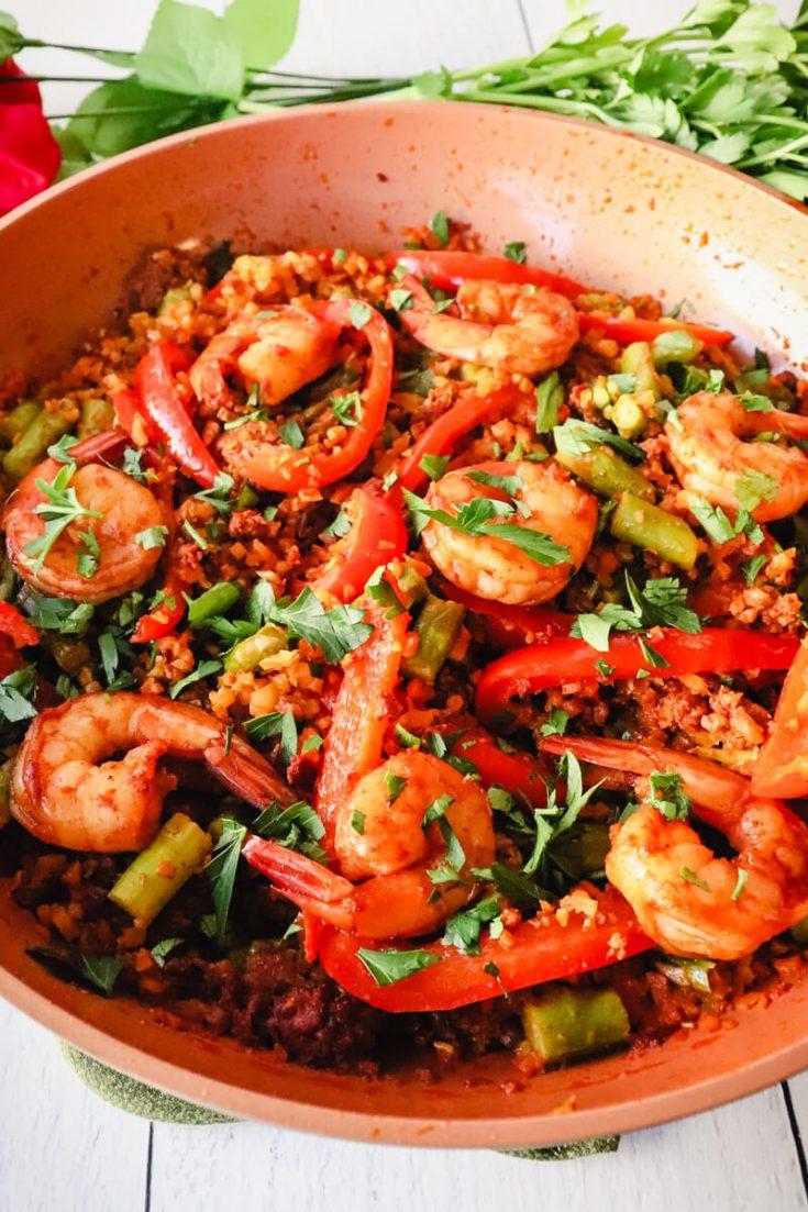 Pan of keto paella