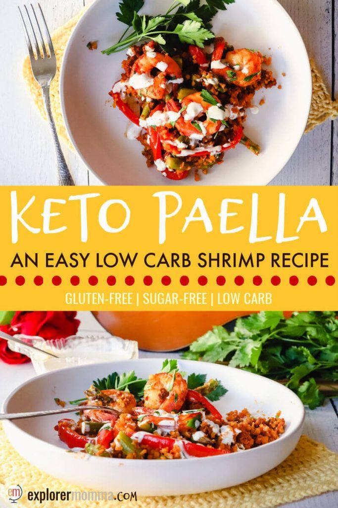 Plate of keto paella with shrimp and garlic aioli