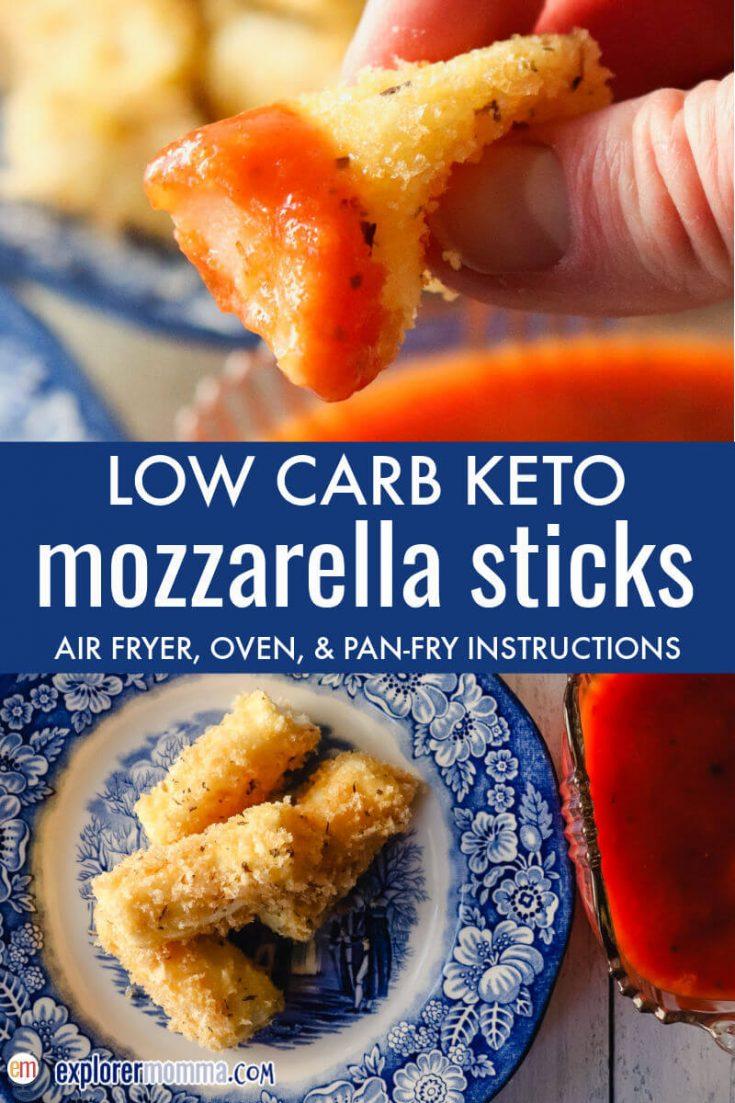 Keto mozzarella cheese sticks dipped in marinara sauce