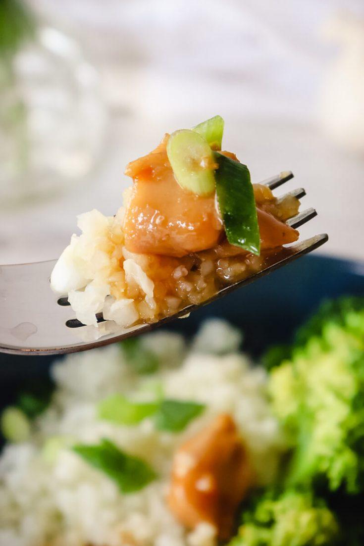 Bite of keto teriyaki chicken