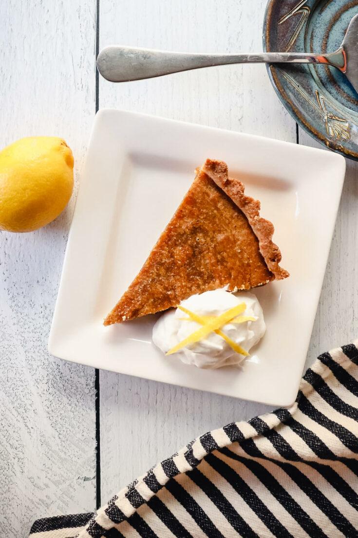 Keto treacle tart piece on a plate
