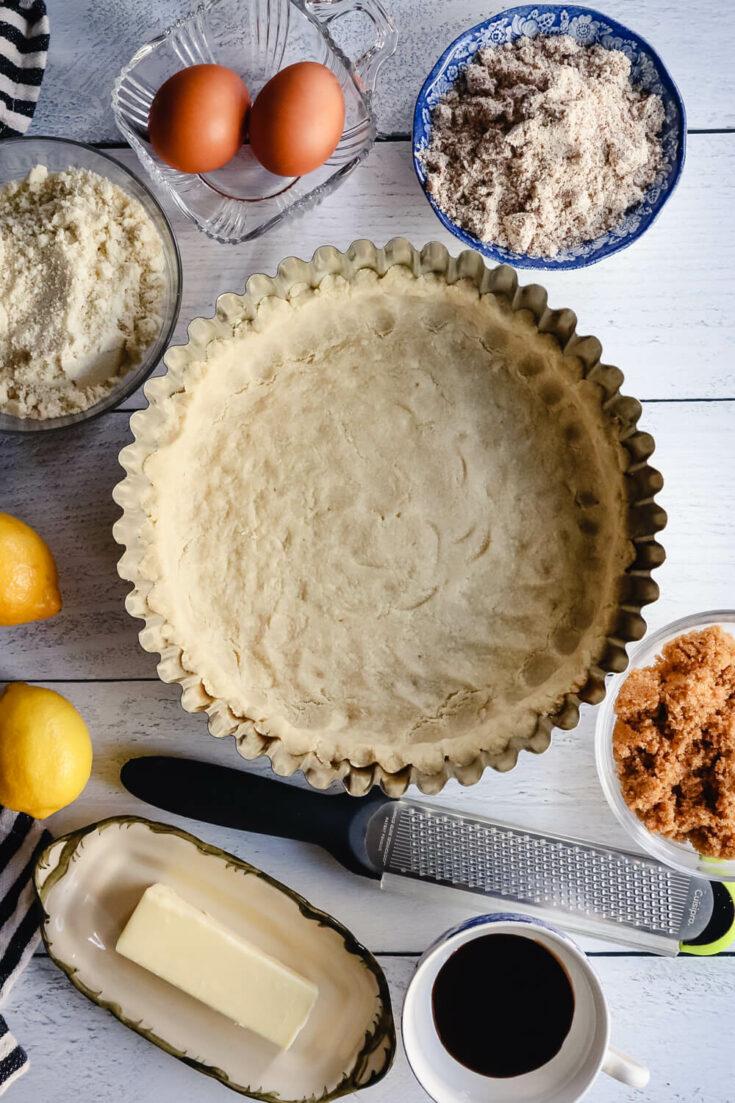 Ingredients in keto treacle tart, overhead view