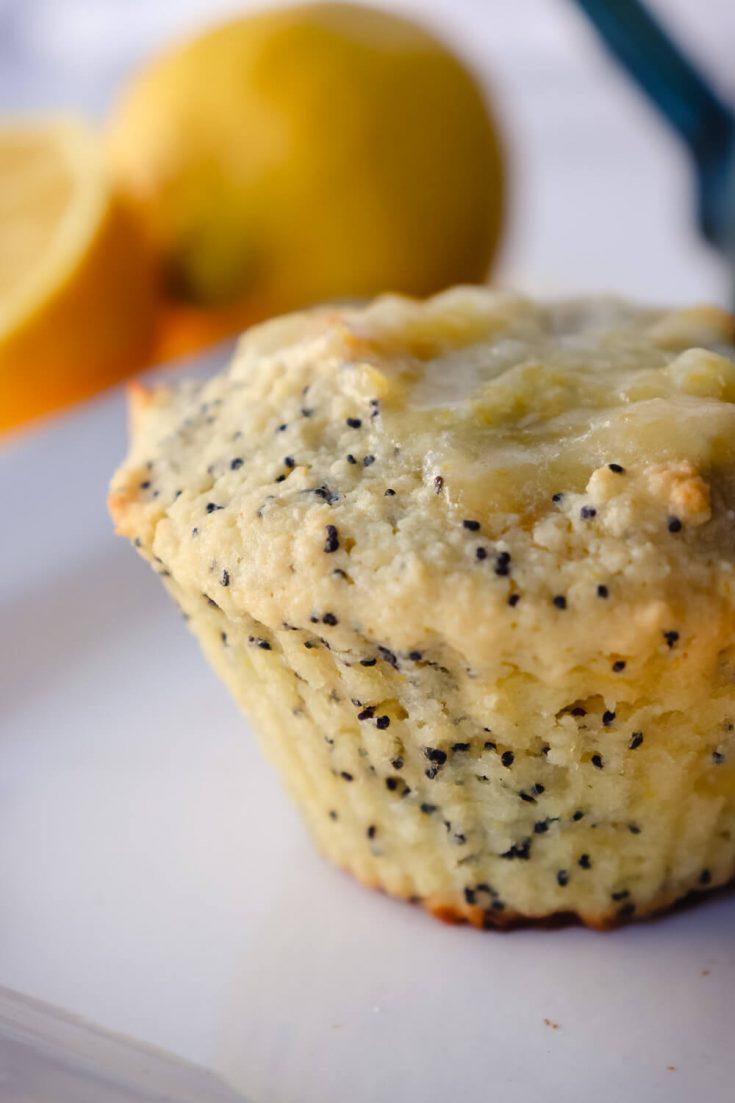 Keto lemon poppy seed muffin on a white plate