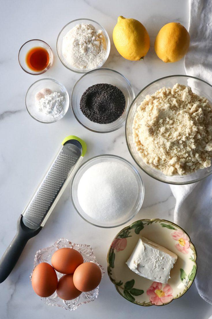 Ingredients in keto lemon poppy seed muffins