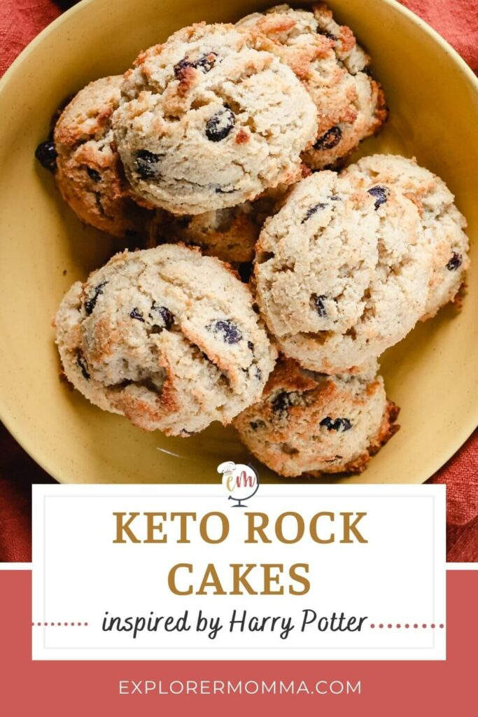 Overhead view of keto rock cakes in a bowl inspired by Harry Potter