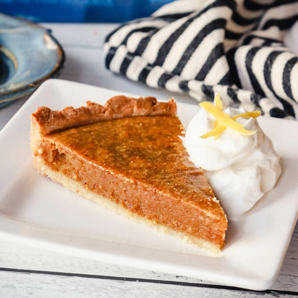 Keto treacle tart on a plate