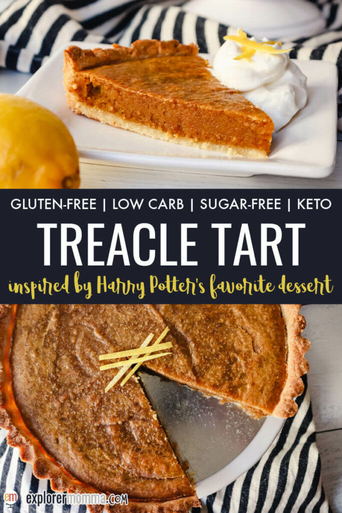Piece of keto treacle tart on a plate, front and overhead view