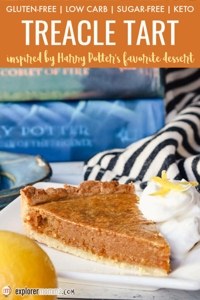 A piece of keto treacle tart on a plate in front of Harry Potter books
