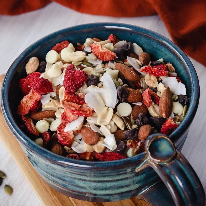 Bowl of sweet keto trail mix