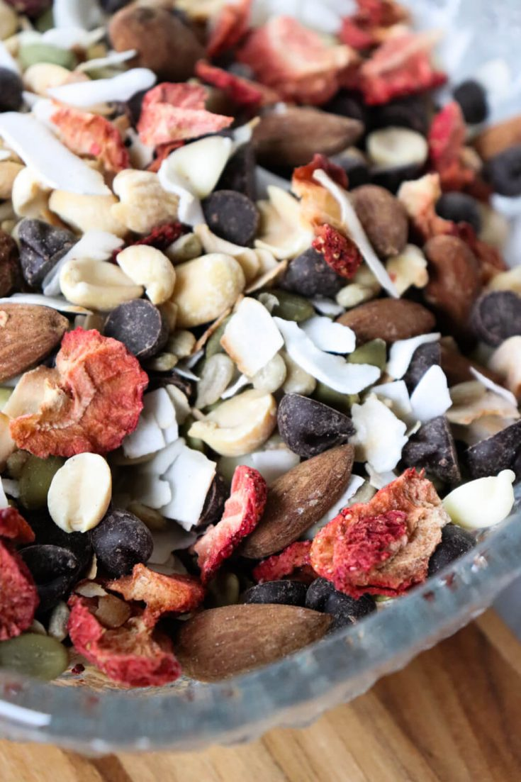 Close-up of keto trail mix in a bowl