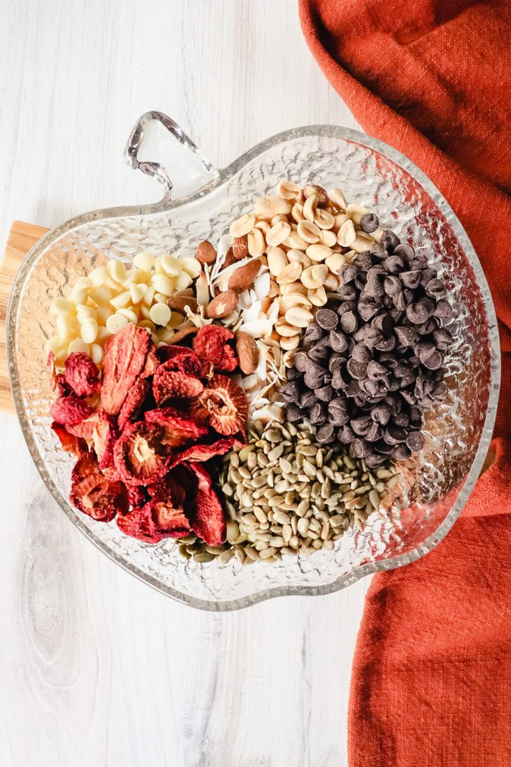 Low carb trail mix ingredients in a bowl