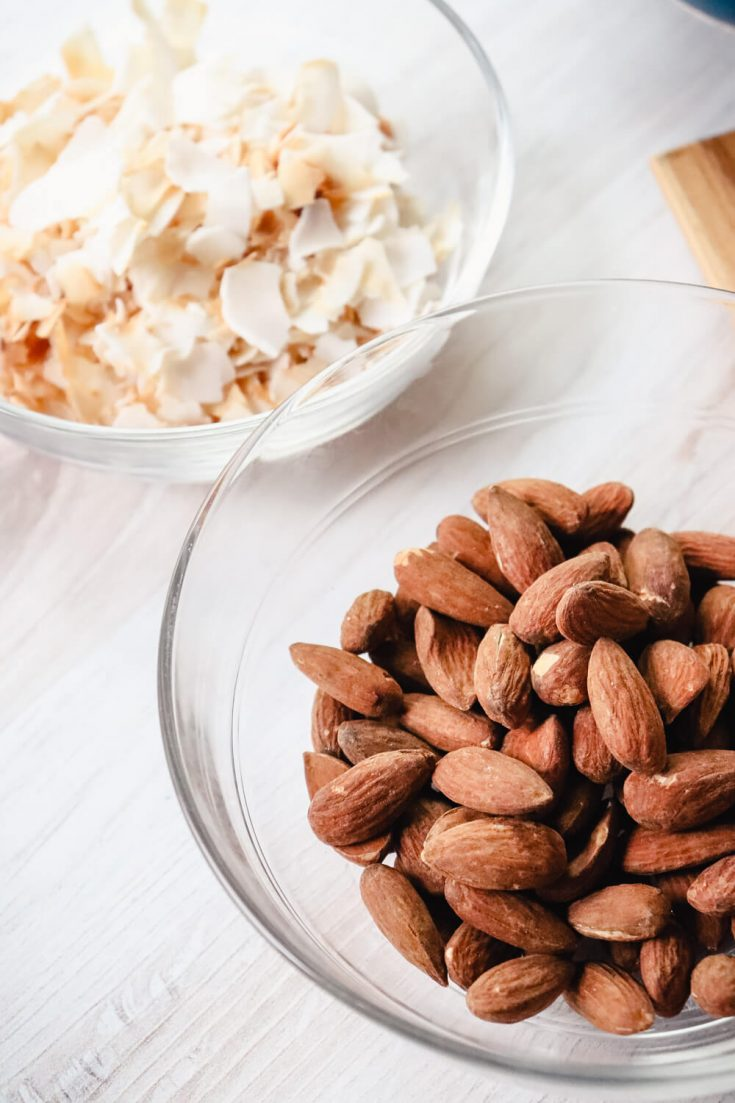 Toasted coconut and almonds