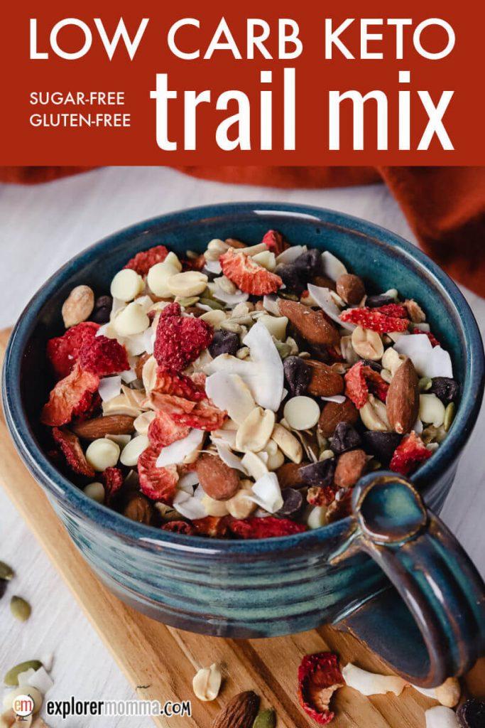 Bowl of low carb keto trail mix