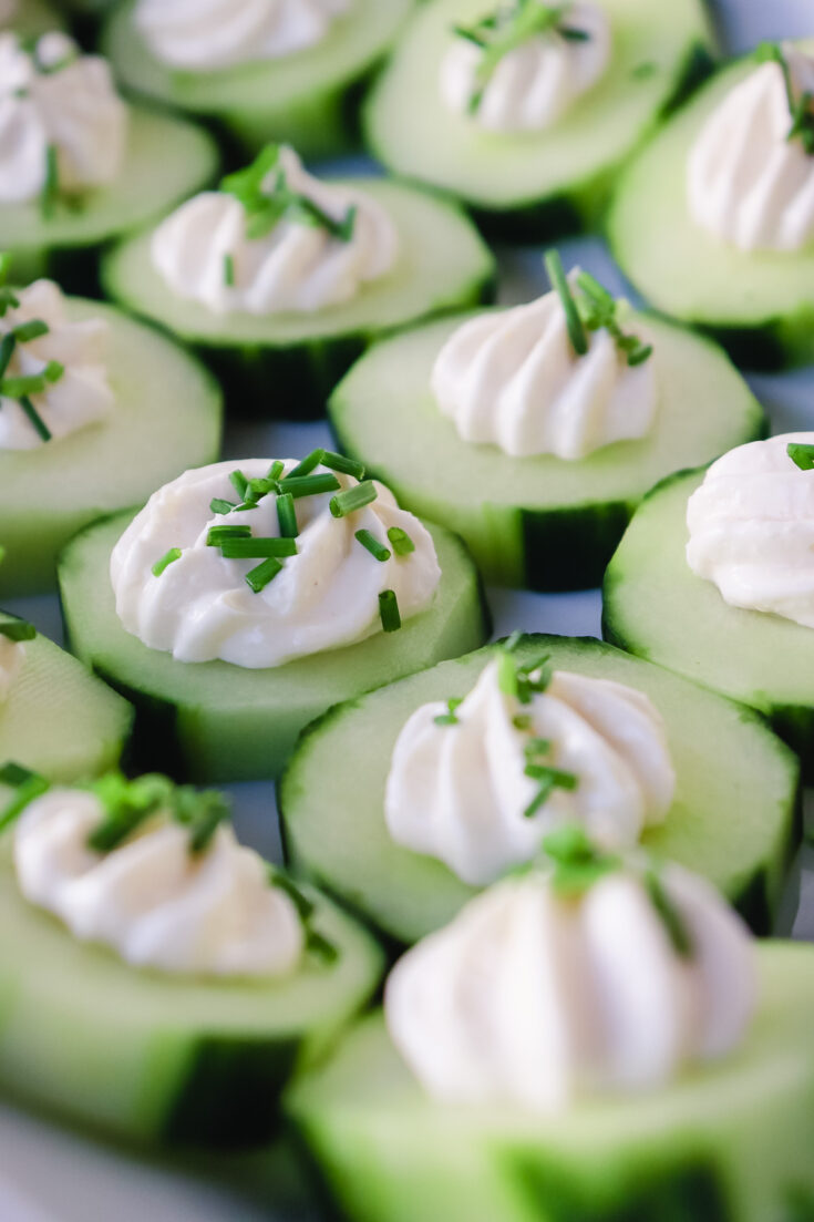 keto cucumber bites on a plate