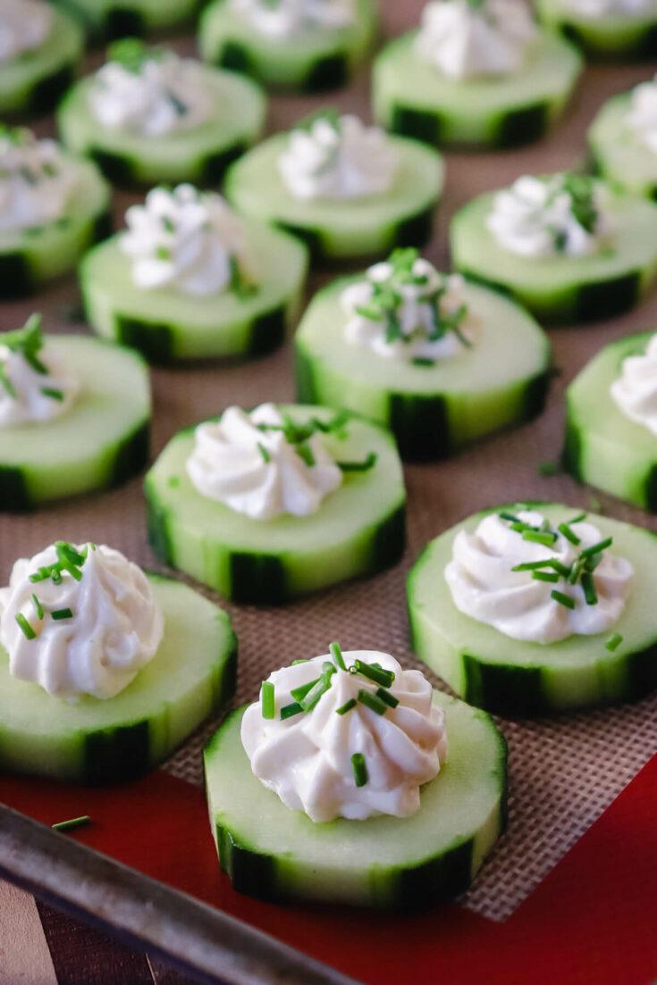 Easy keto cucumber bites on a tray
