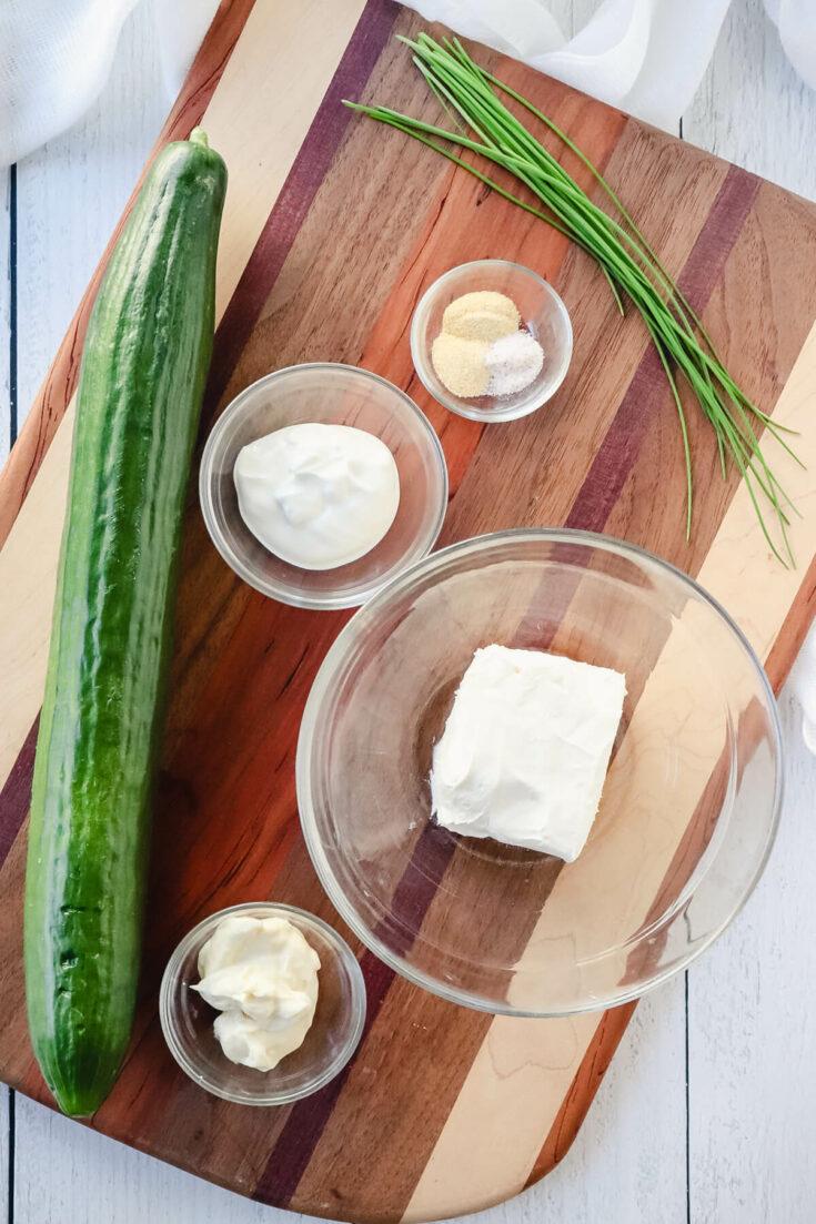 Overhead view of ingredients in keto cucumber bites