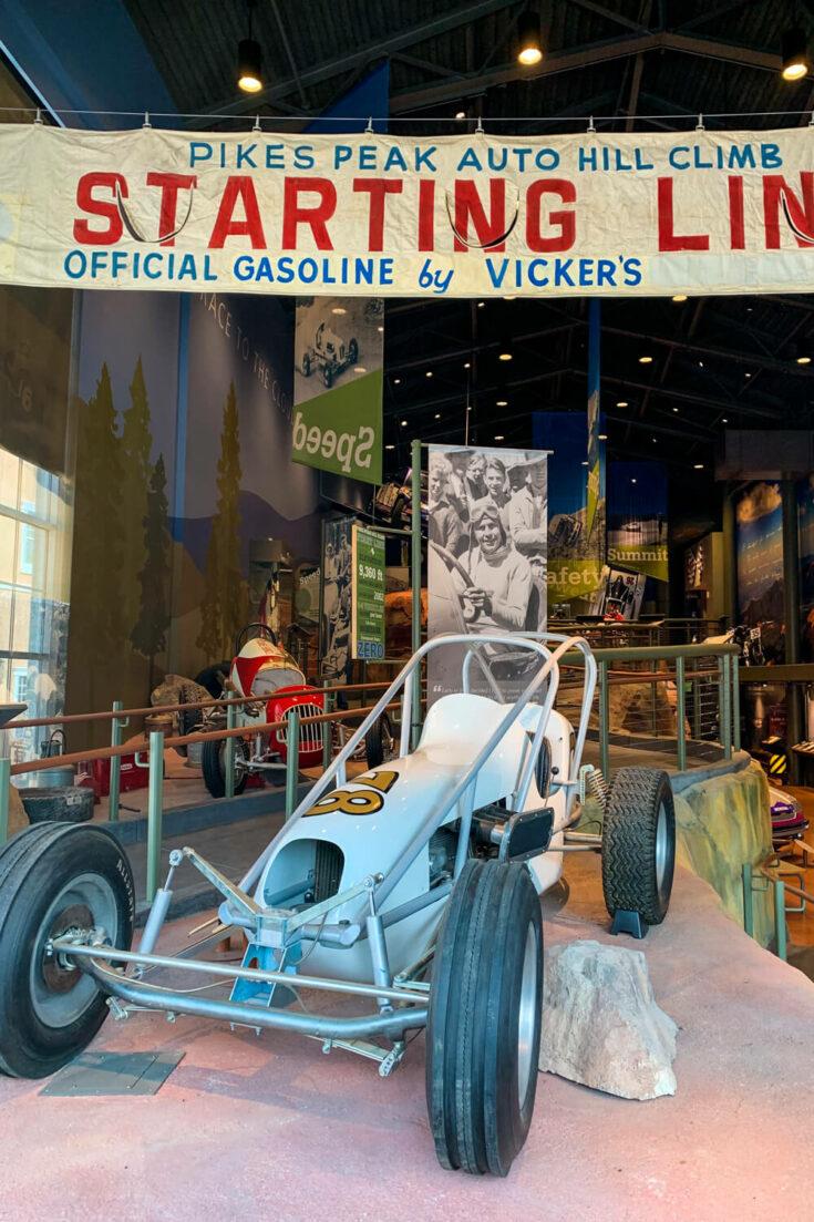 Starting line race vehicle at Penrose Museum