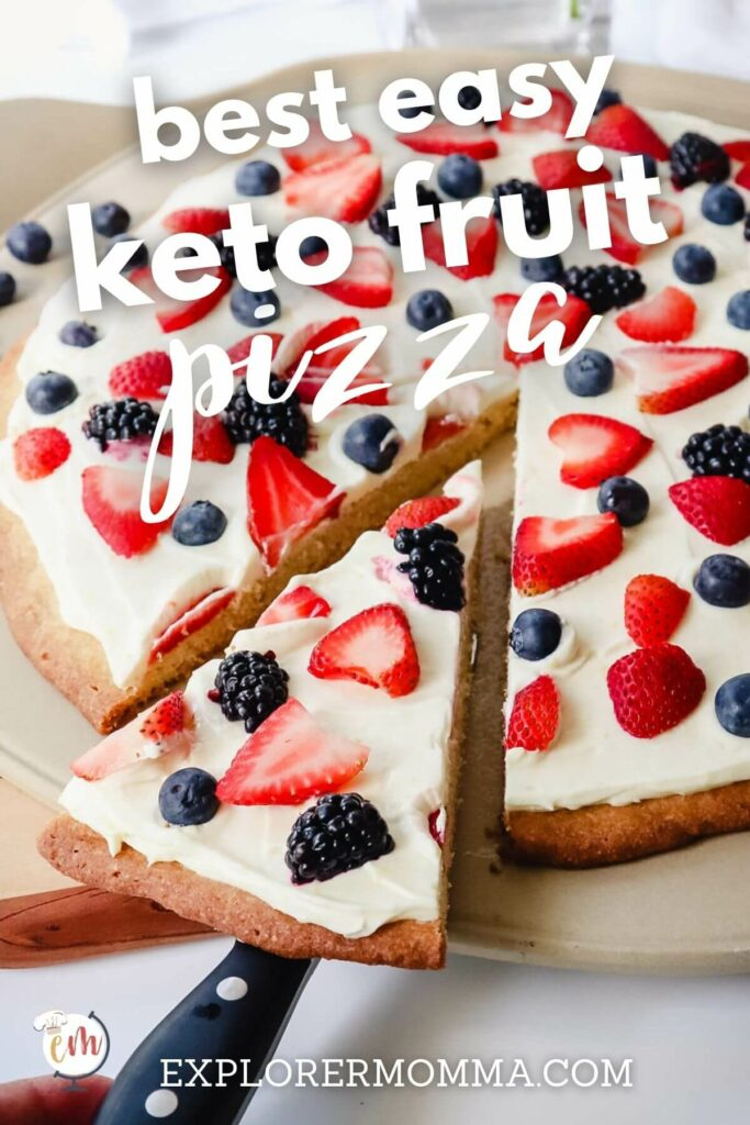 piece of a keto fruit pizza