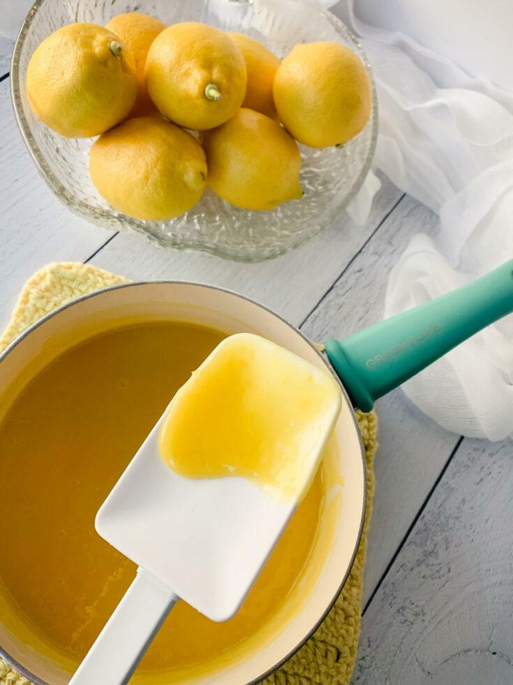 Lemon curd on a spatula