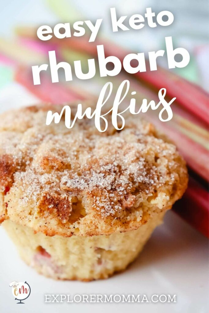 Front view of a keto rhubarb muffin