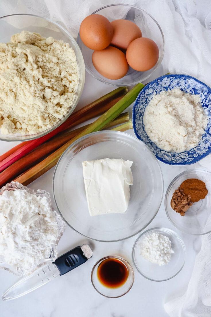 Ingredients in keto rhubarb muffins