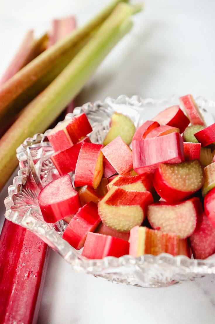 A bowl of chopped rhubarb