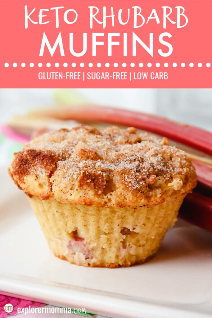 Front view keto rhubarb muffin