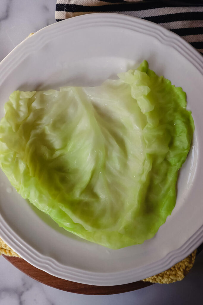 Cabbage leaf on a plate