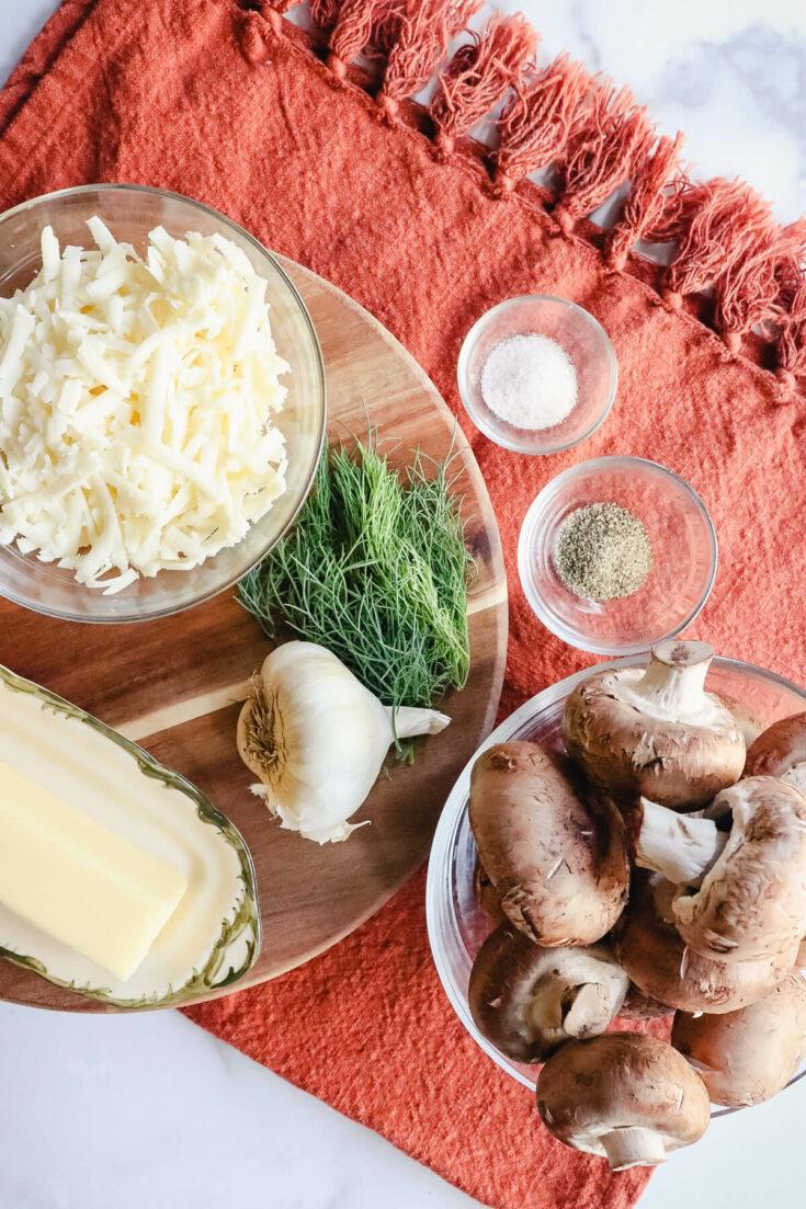Overhead view of ingredients in keto stuffed mushrooms