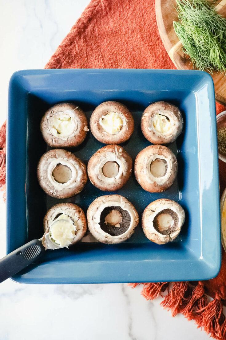 Garlic butter in mushroom caps