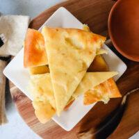 Keto khachapuri, overhead view of Georgian cheese bread
