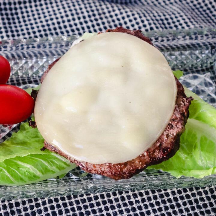 Frozen burger cooked in air fryer