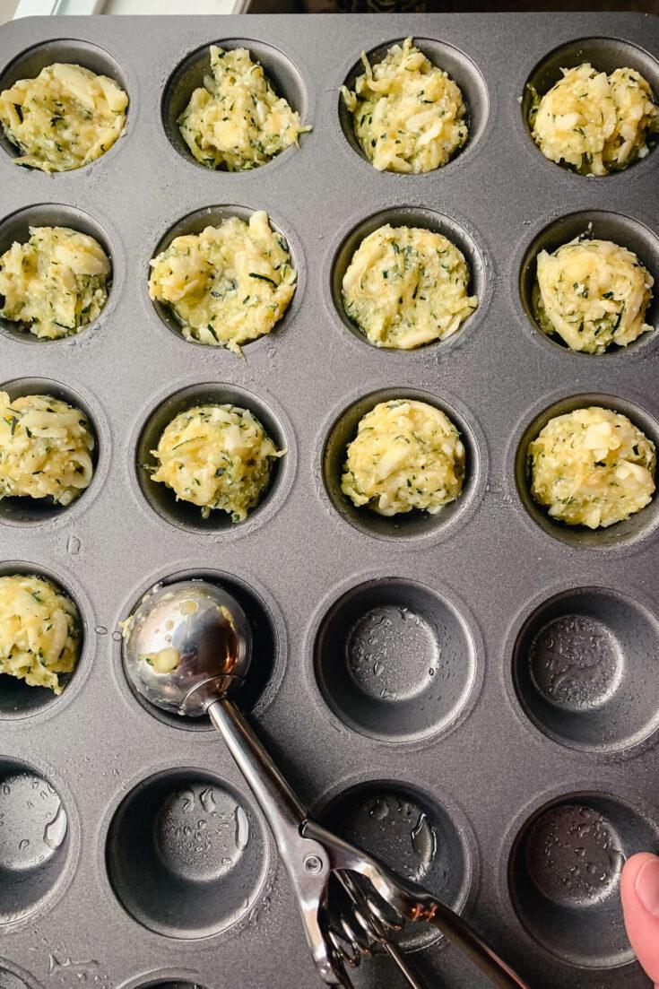 Zucchini batter in muffin pan