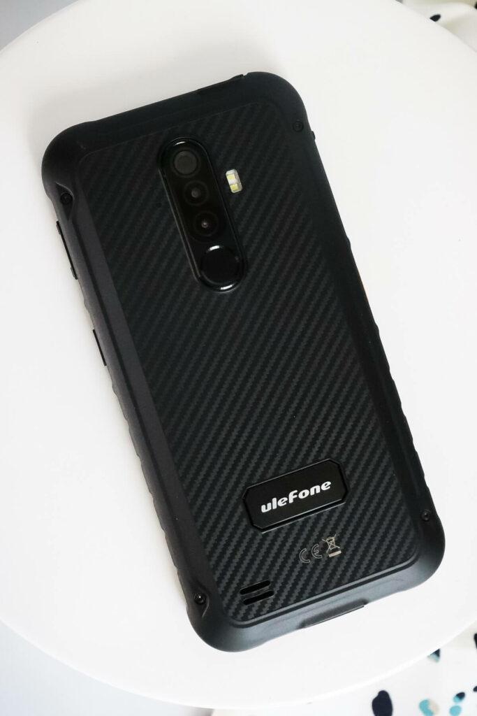 Back of the black Rugged phone,